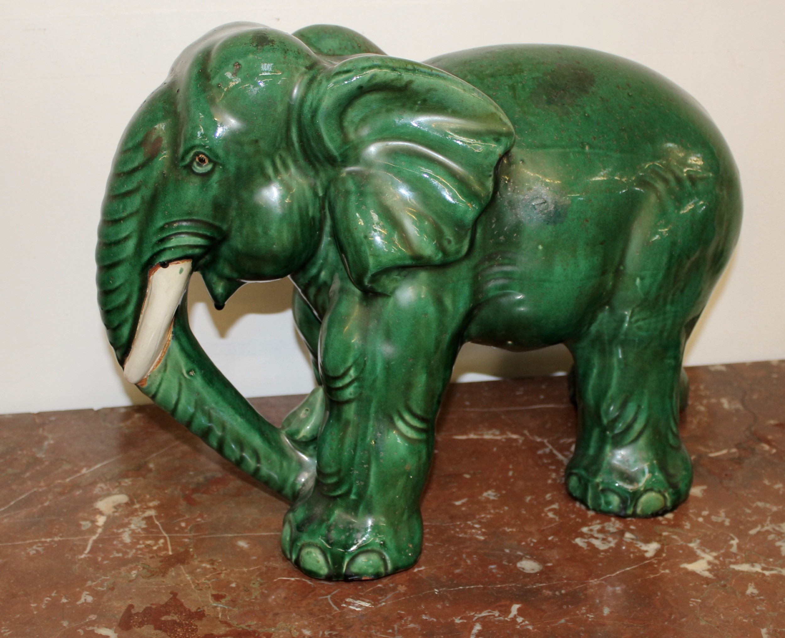 elephant terracotta green glazed