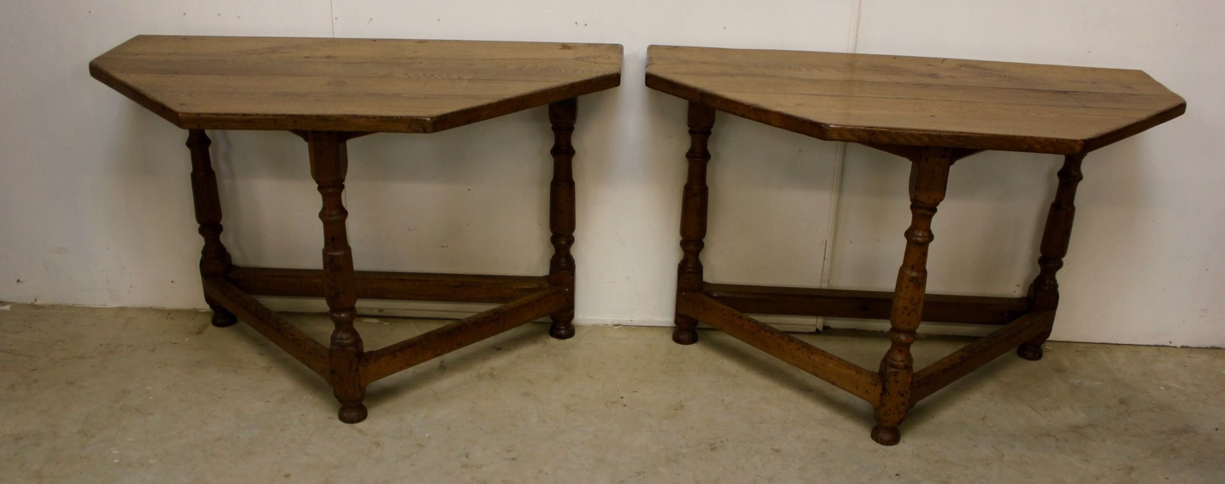 pair of oak console tables