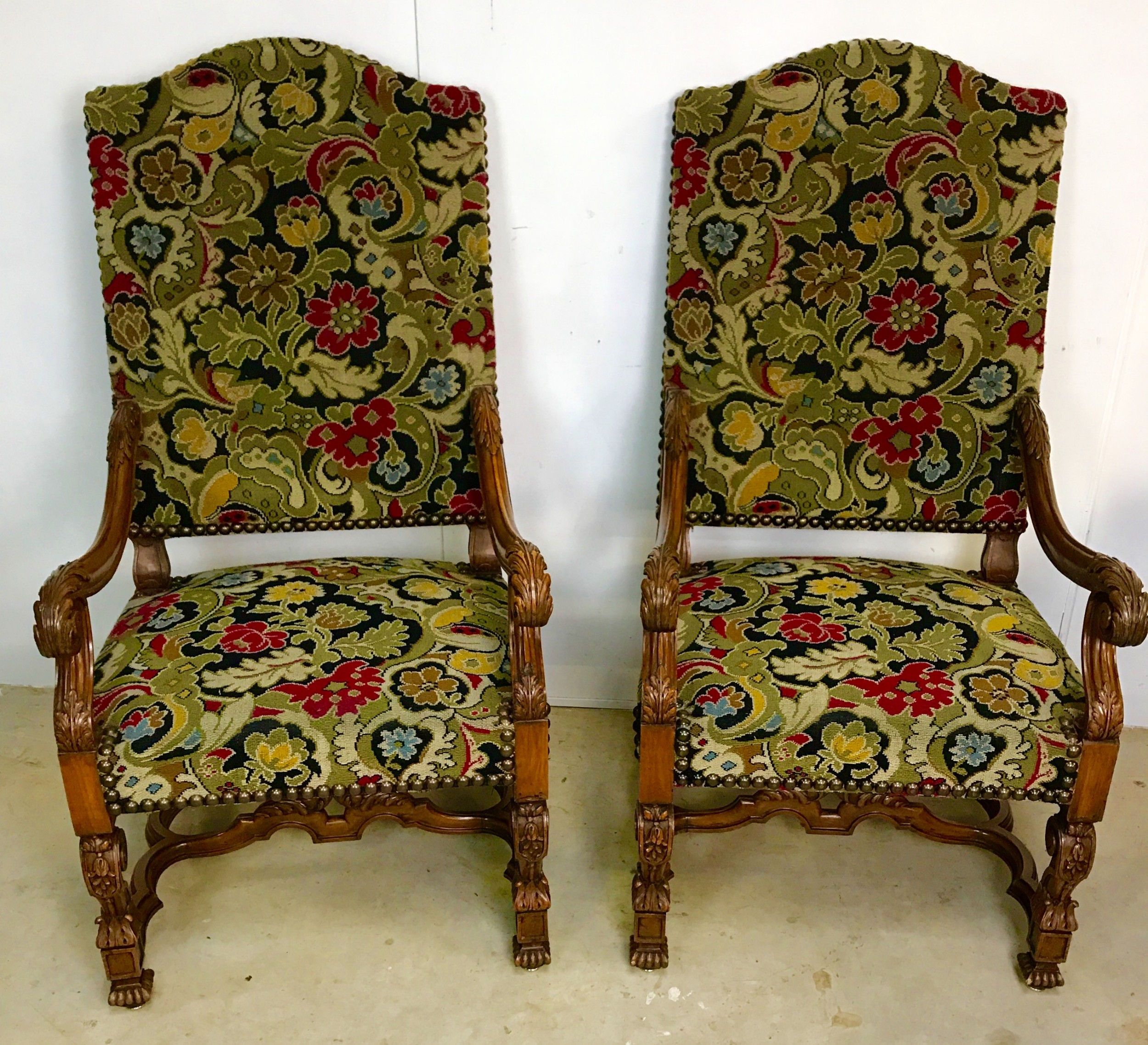large pair of french walnut armchairs