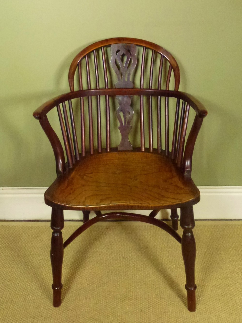 george iii yew windsor chair antique photo