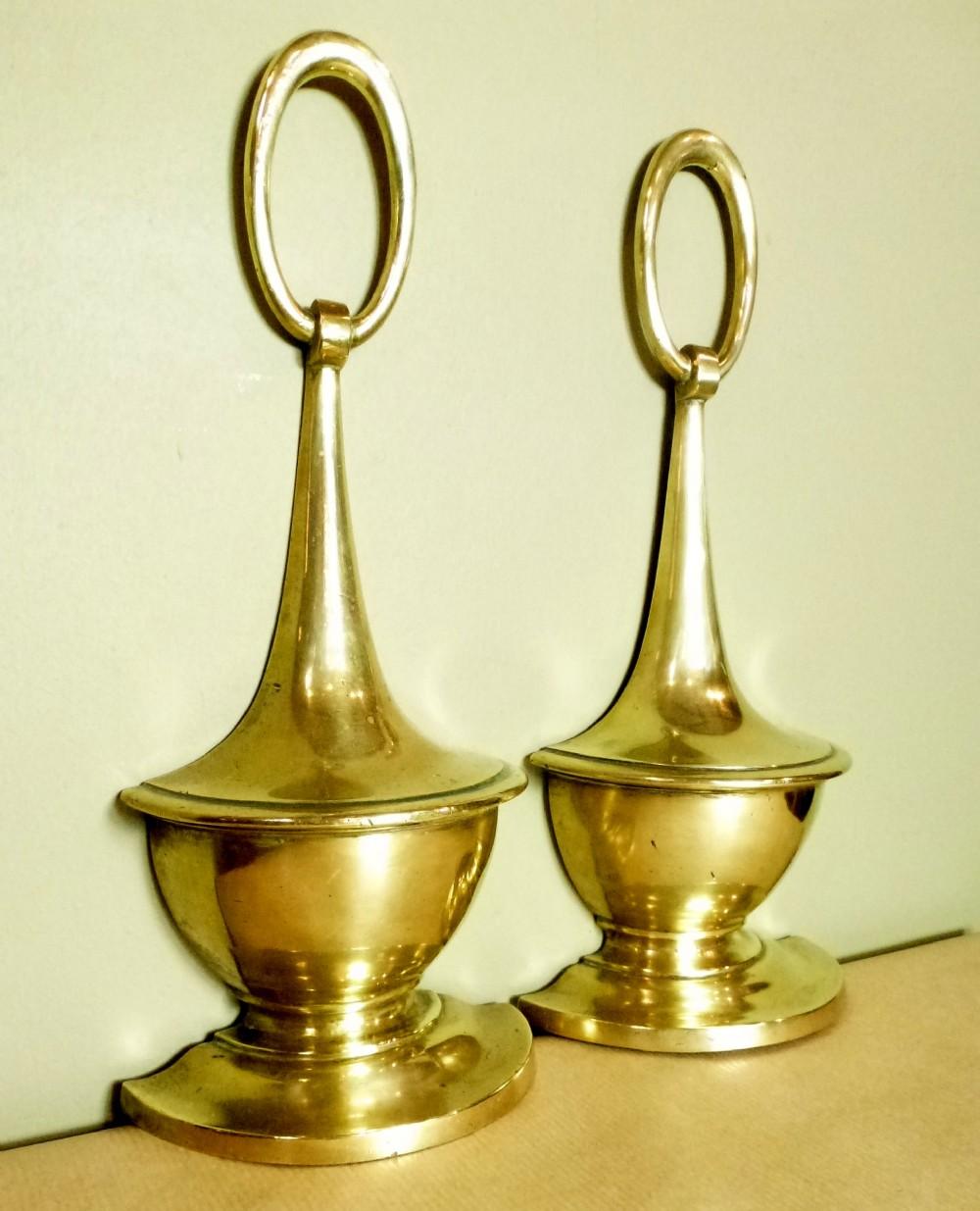 Pair Of Antique Brass Door Stops 259674