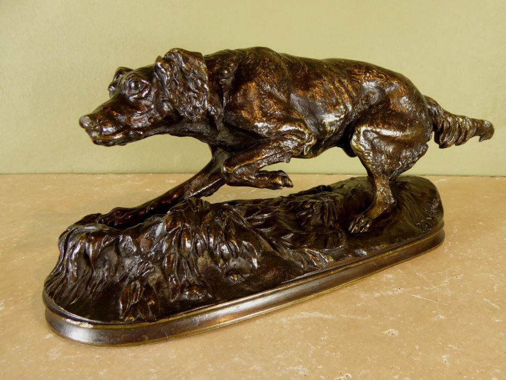 19th c bronze of a dog