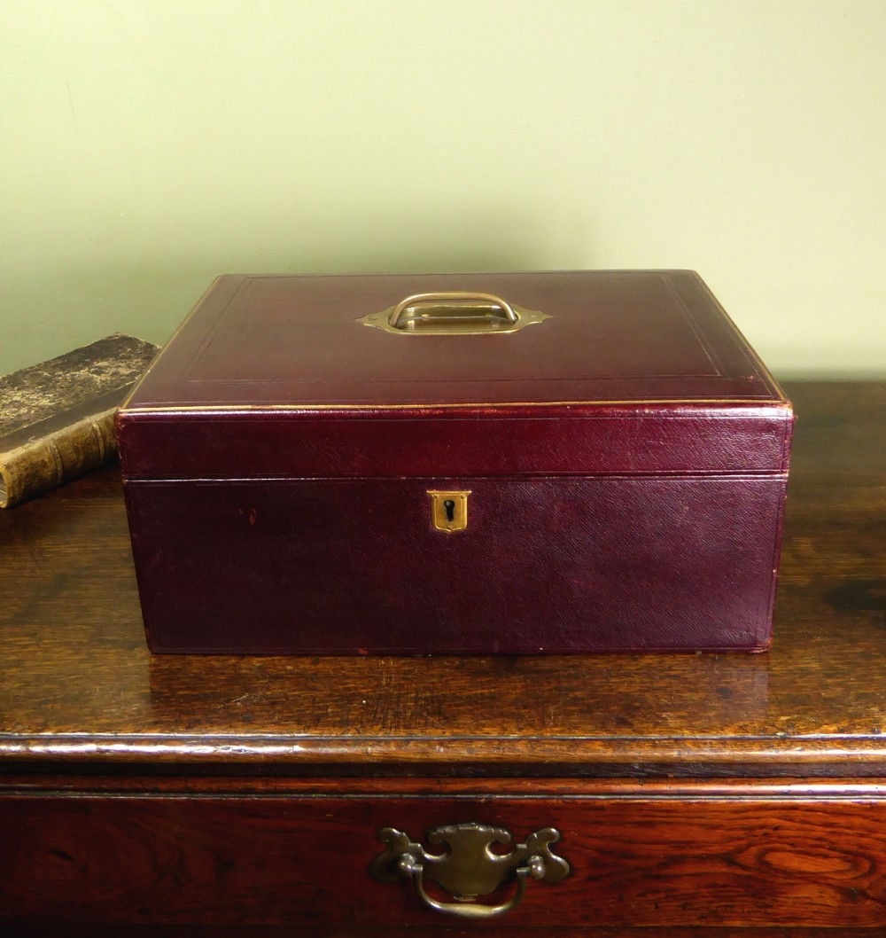 19th c leather writing box