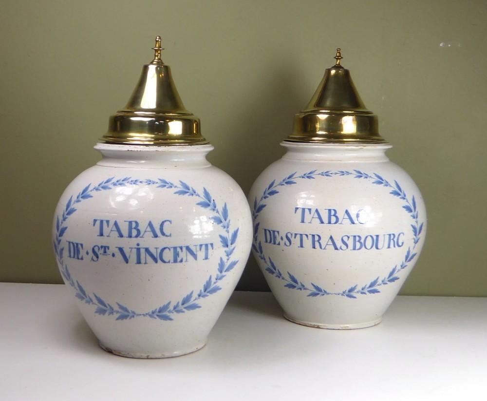 pair of 18th c delft tobacco jars