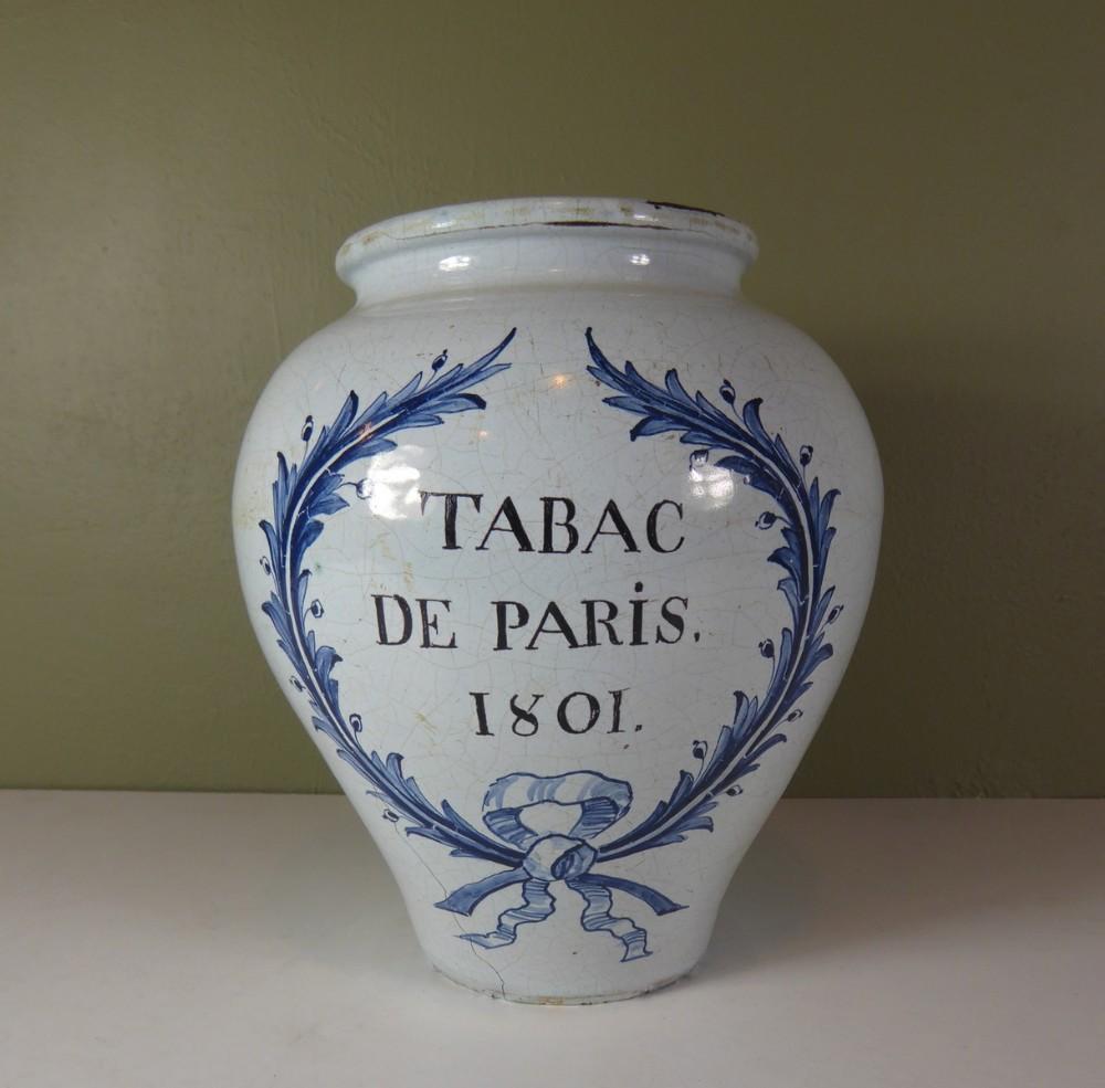 delft tobacco jar 'tabac de paris 1801'
