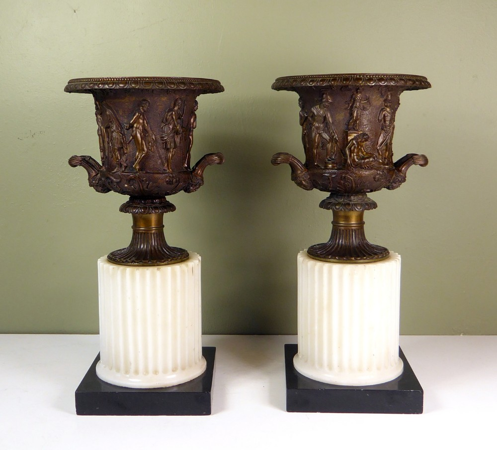 pair of early 19th c classical bronze vases