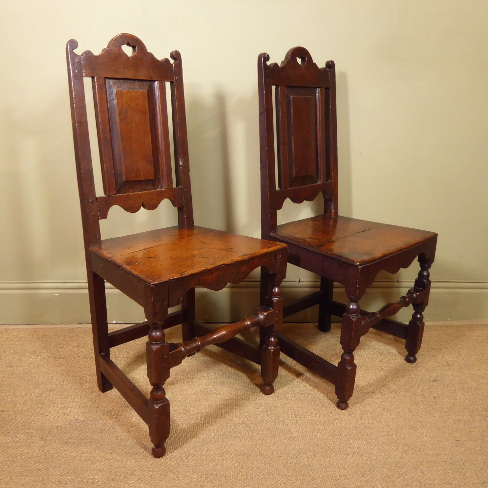 pair of george i oak chairs back stools