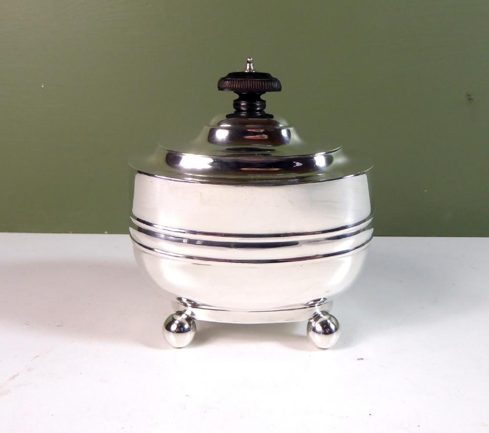 solid silver tea caddy 1907