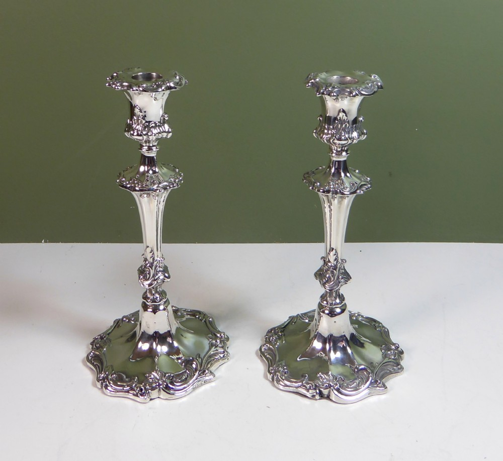 pair of 19th c silver candlesticks 1842