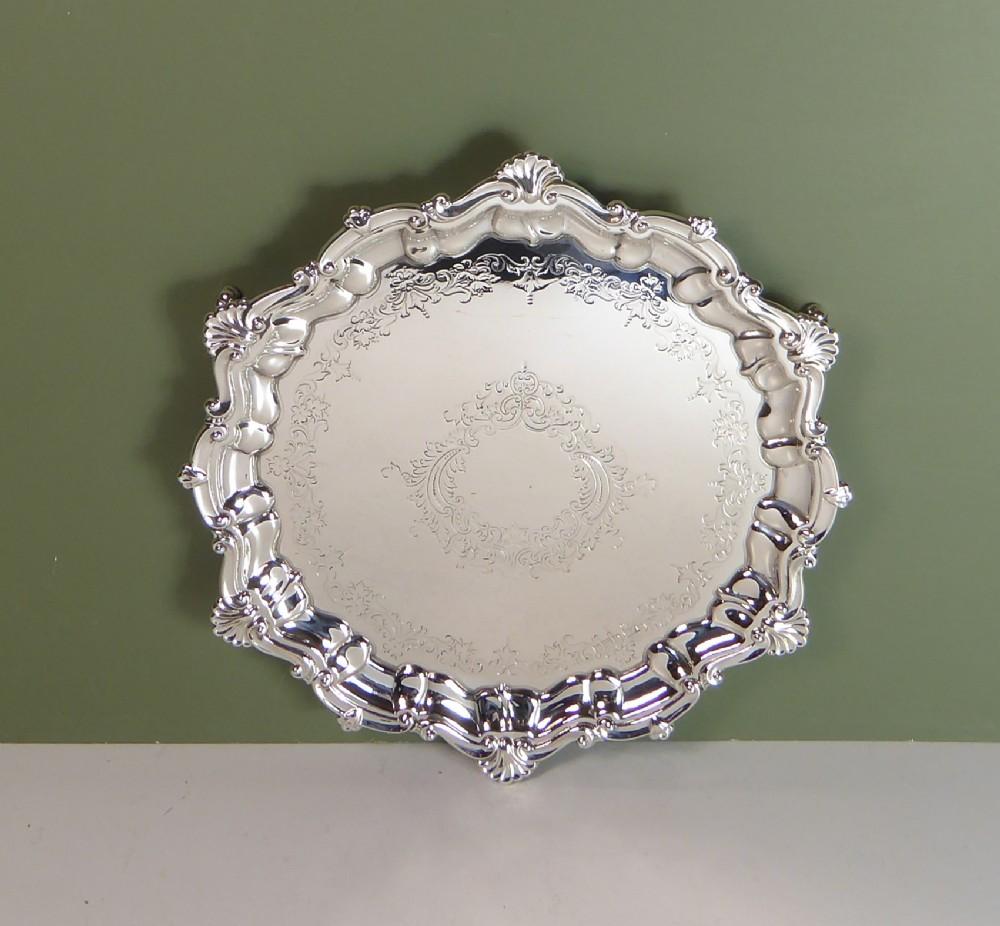 solid silver salver tray 1910