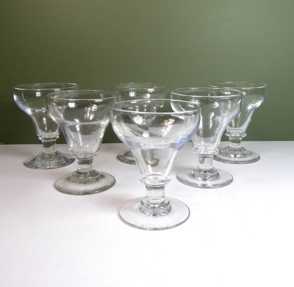 set of six 19th c wine glasses