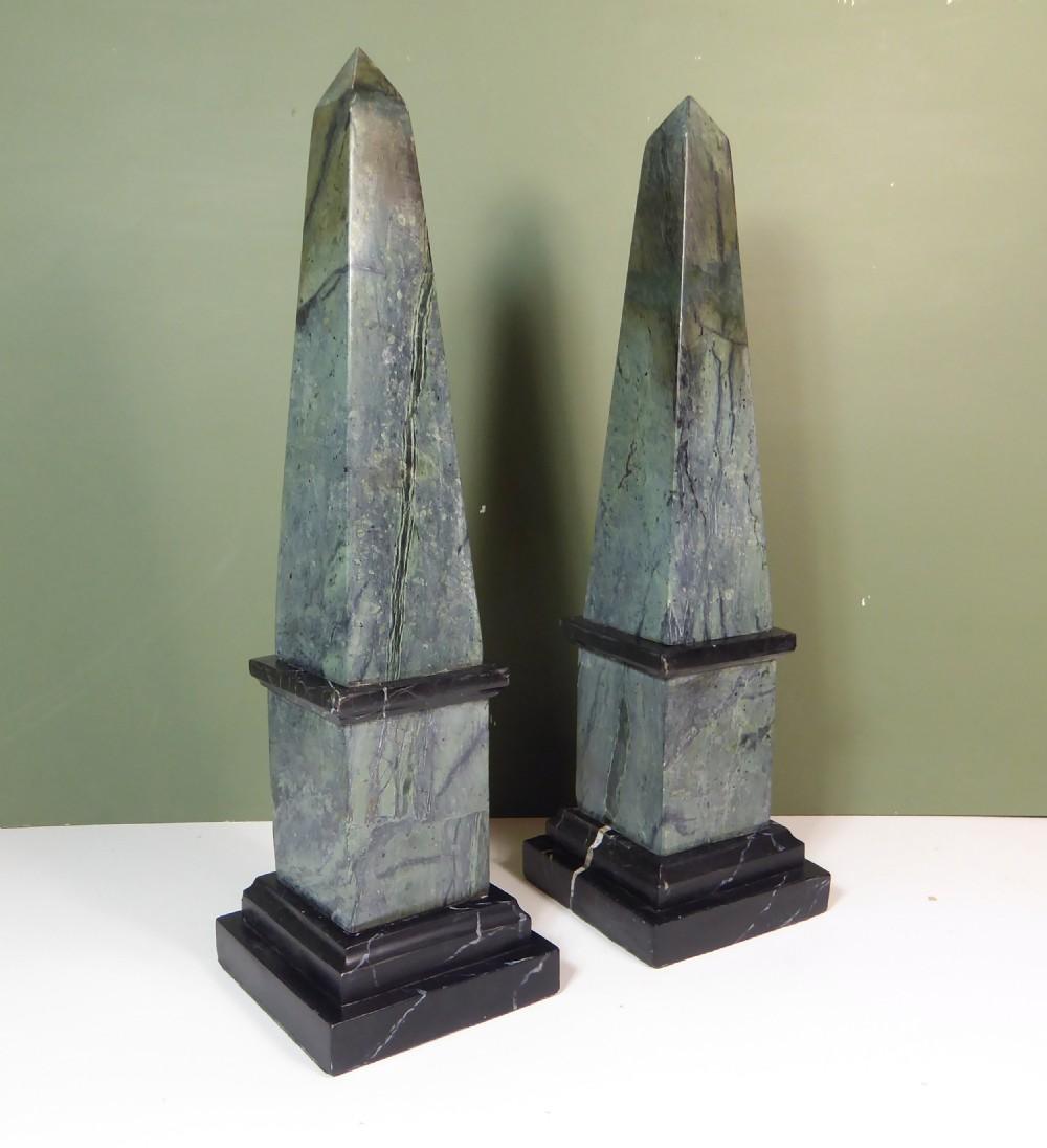 pair of marble obelisk