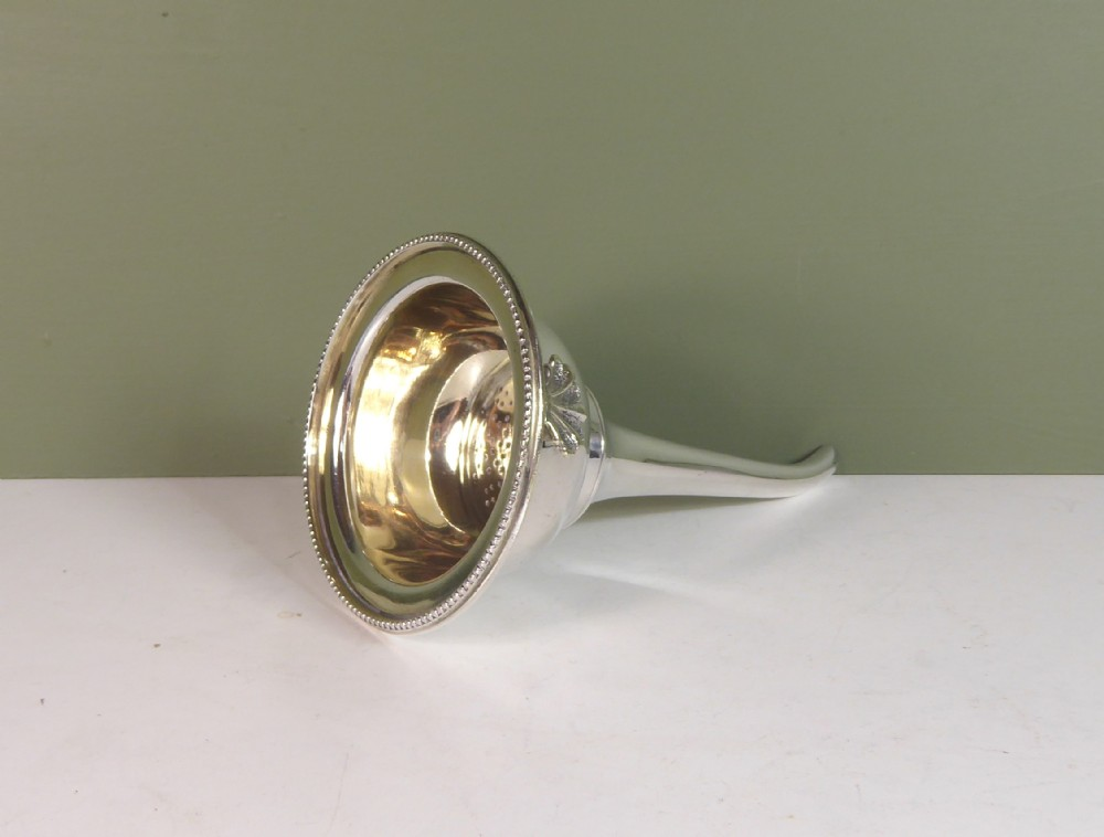 19th c silver plated wine funnel