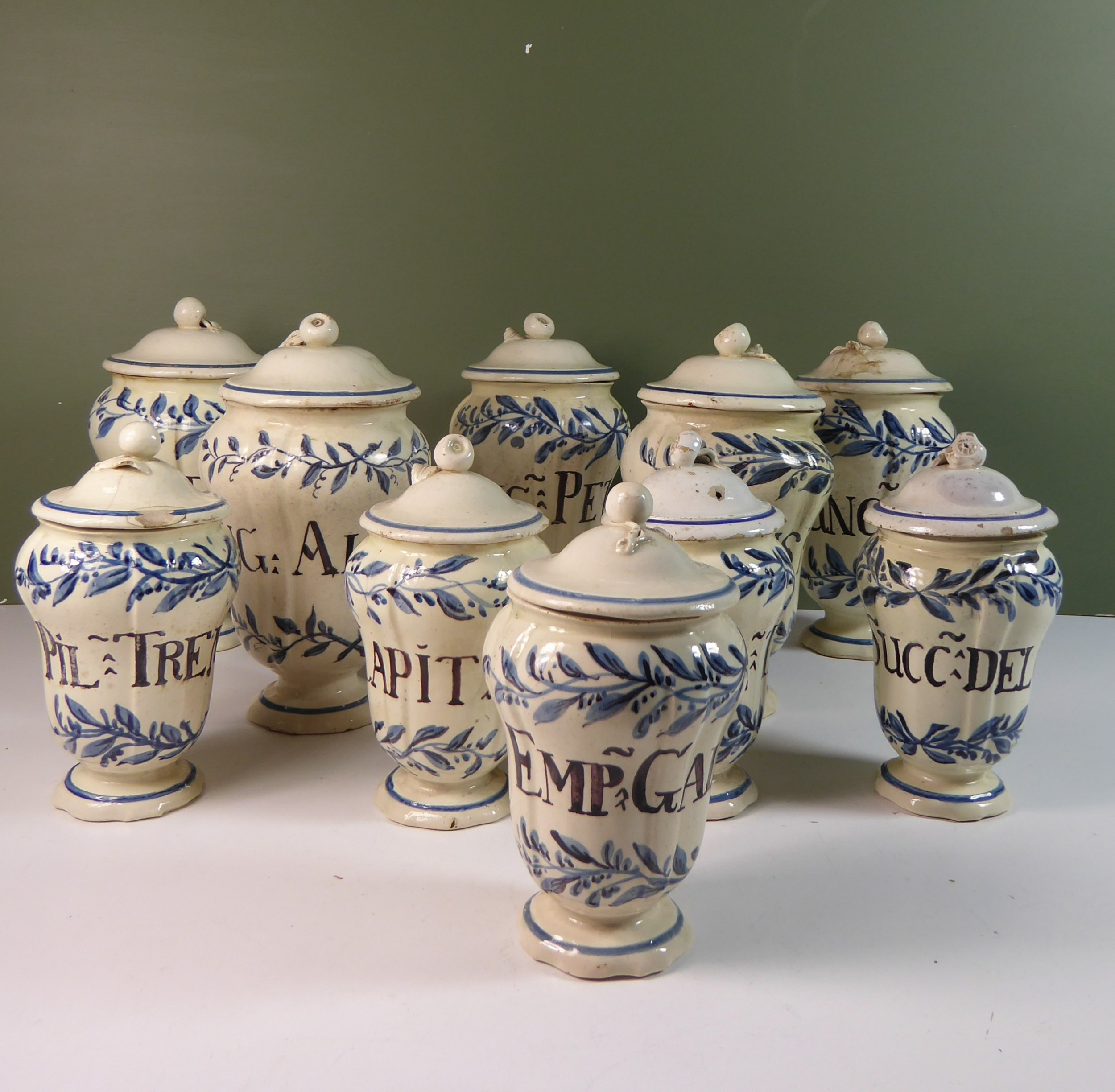 set of 18th c apothecary jars