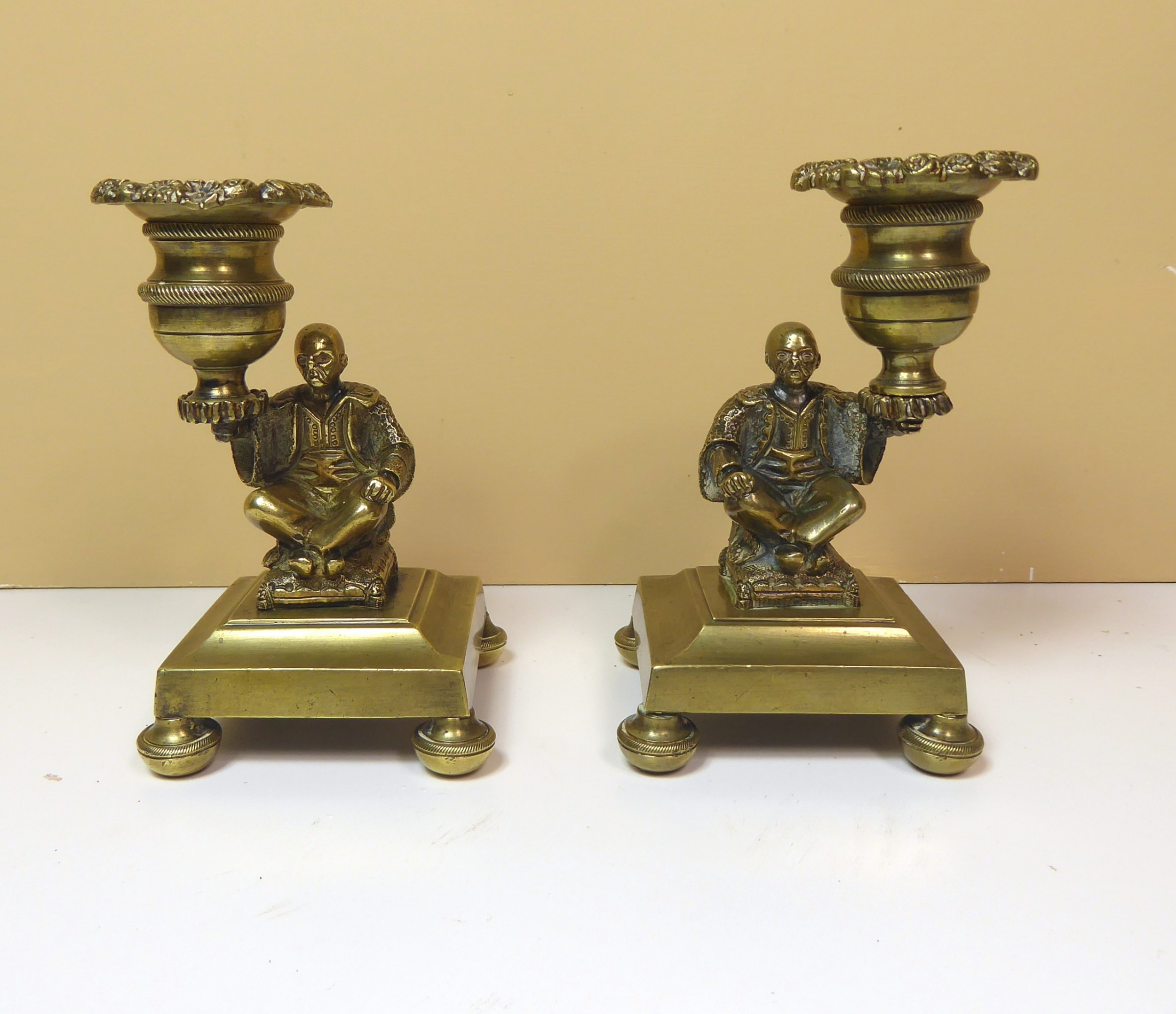 pair of 19th c brass candlesticks