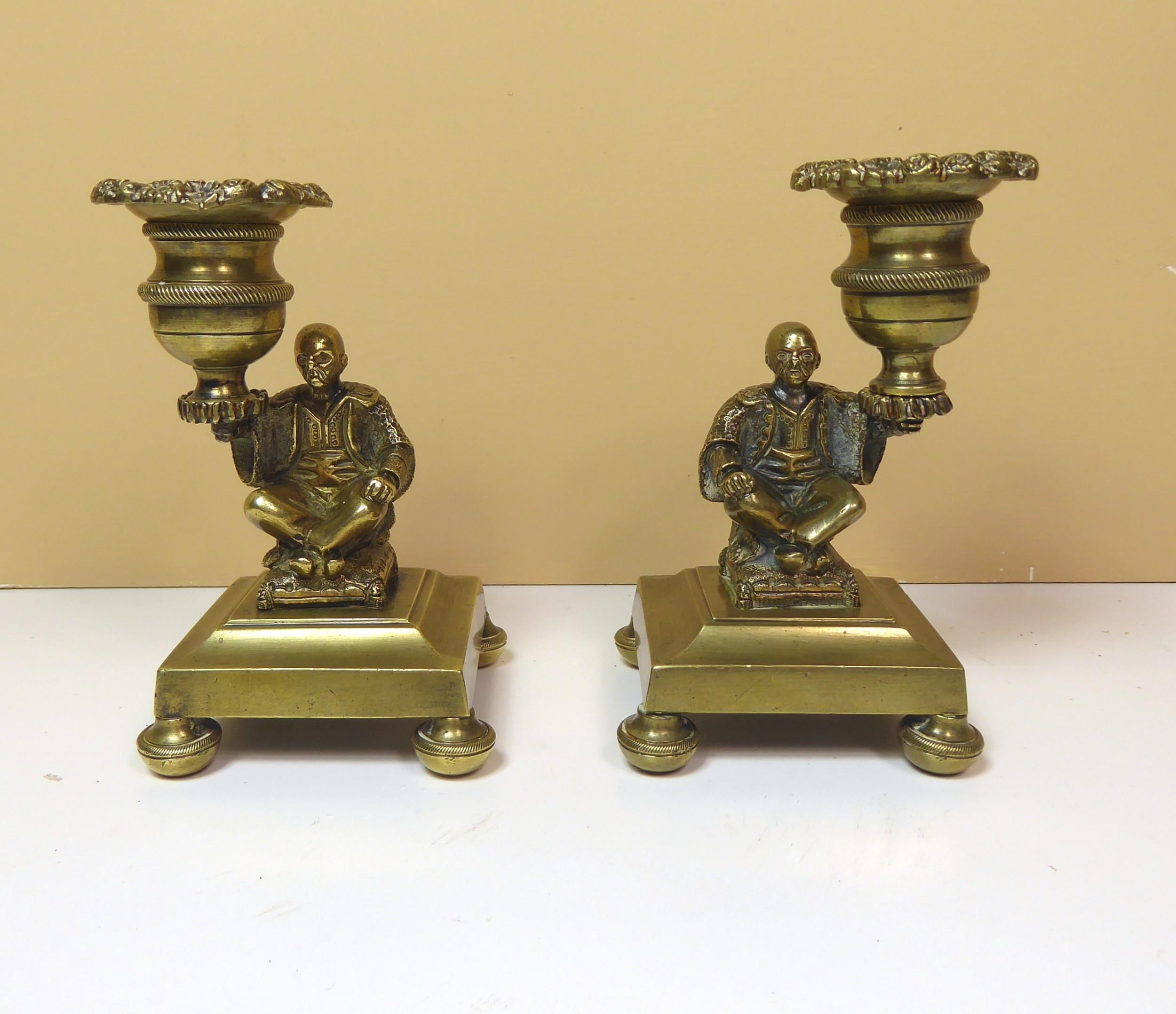 pair of 19th c brass candlesticks