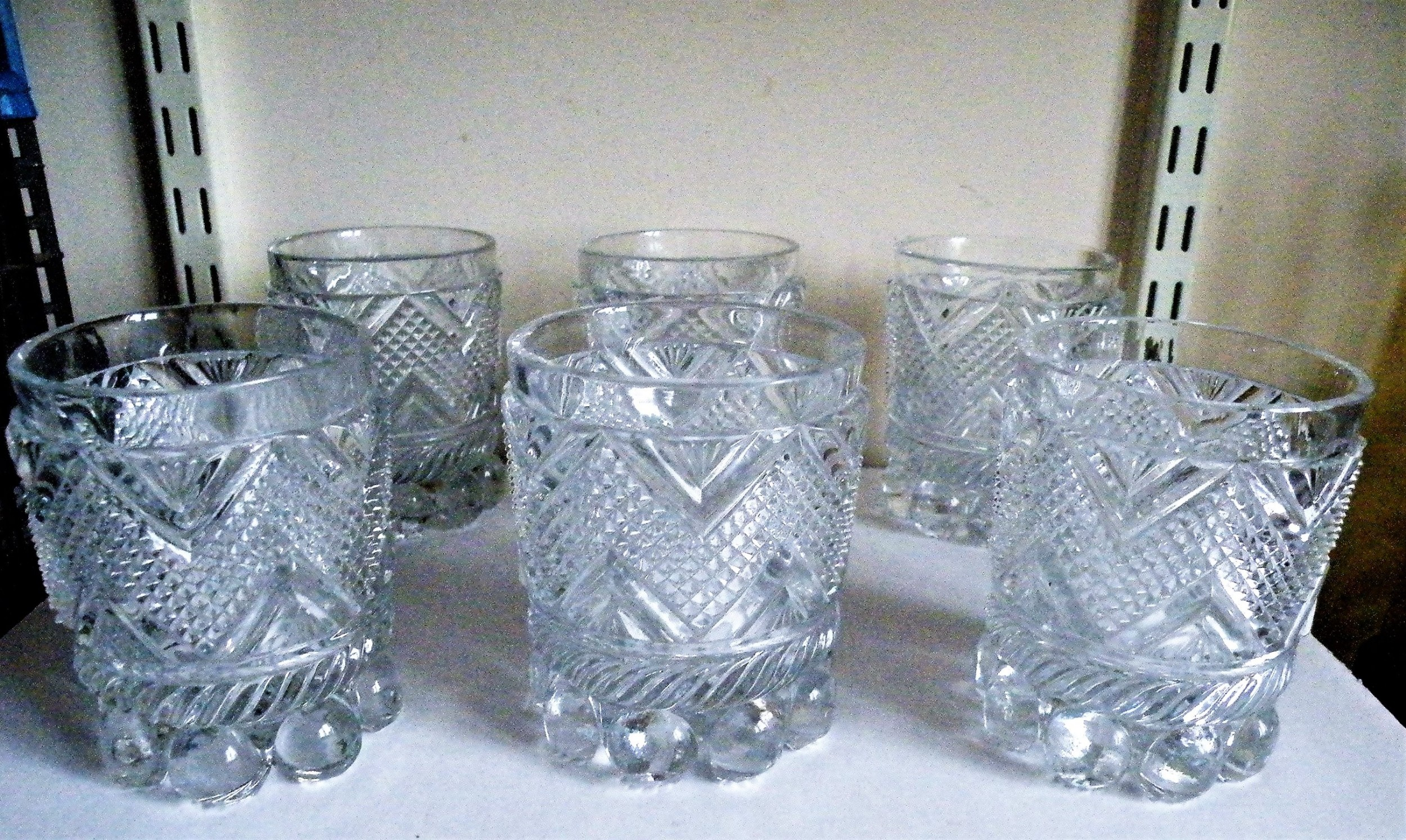 a superb and rare set of six 19th century baccarat whisky glasses
