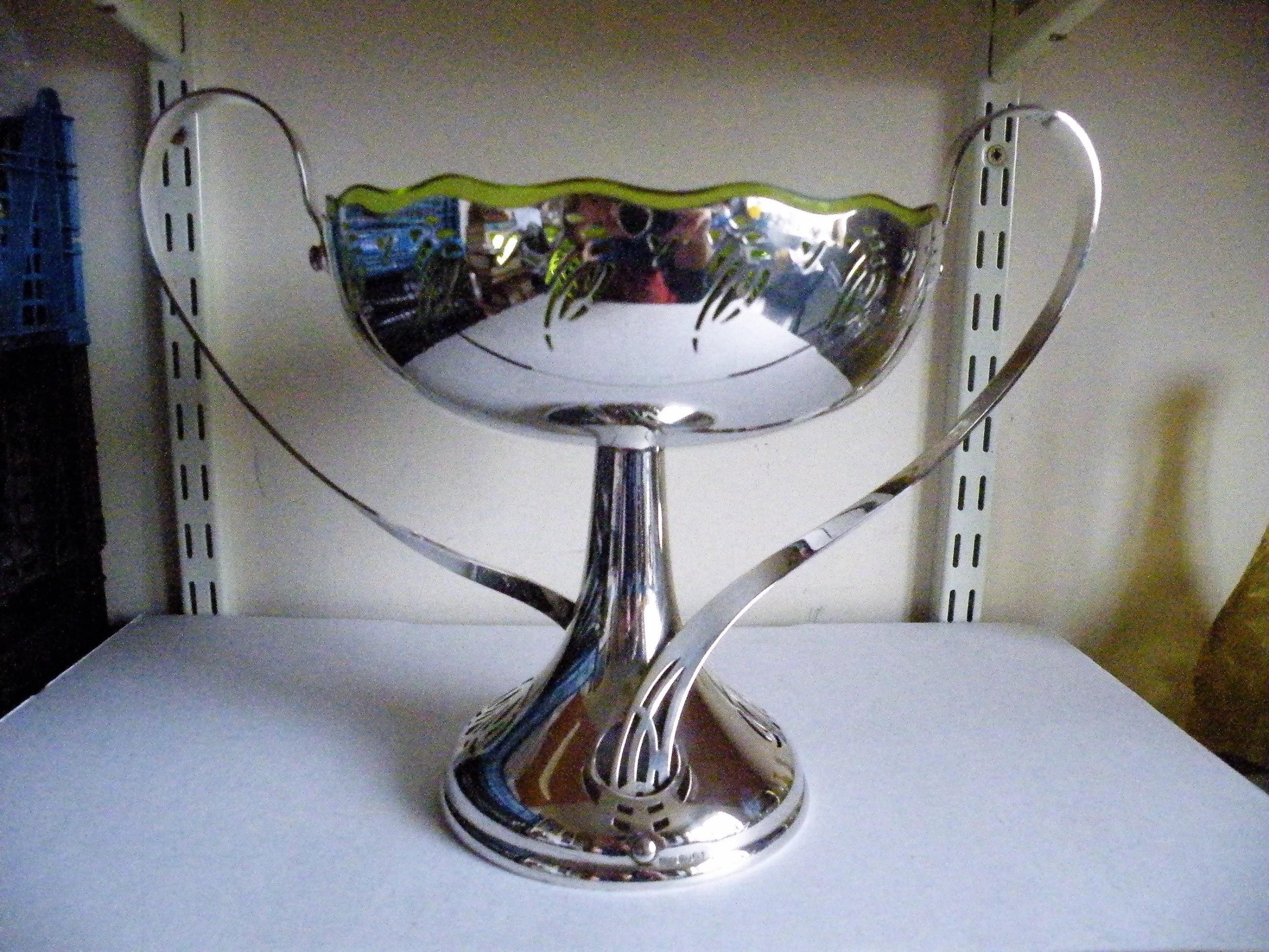 a superb art nouveau w m f silver plate and glass comport bowl