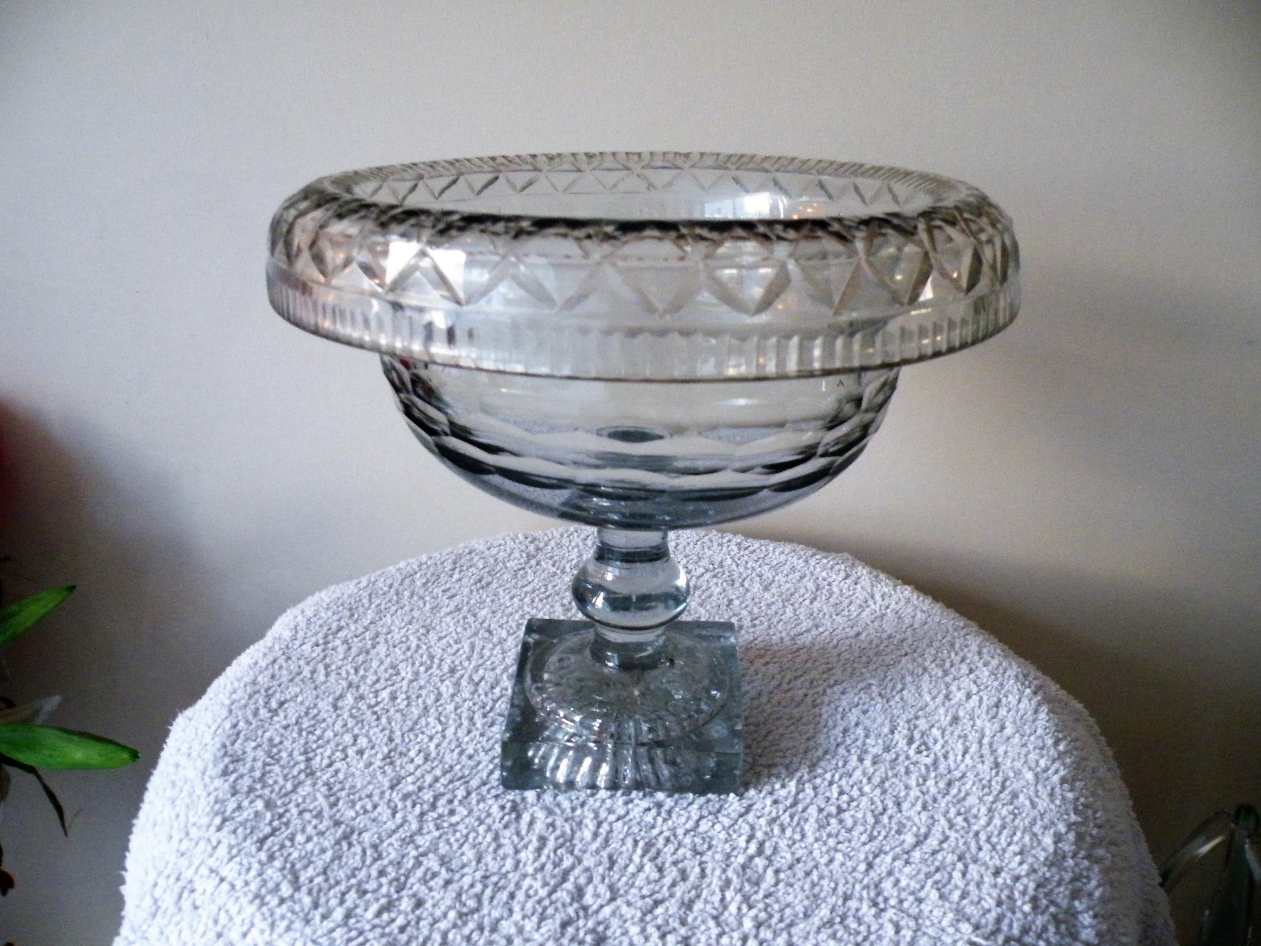 a rare large 18th century irish cut glass bowl with turnover rim