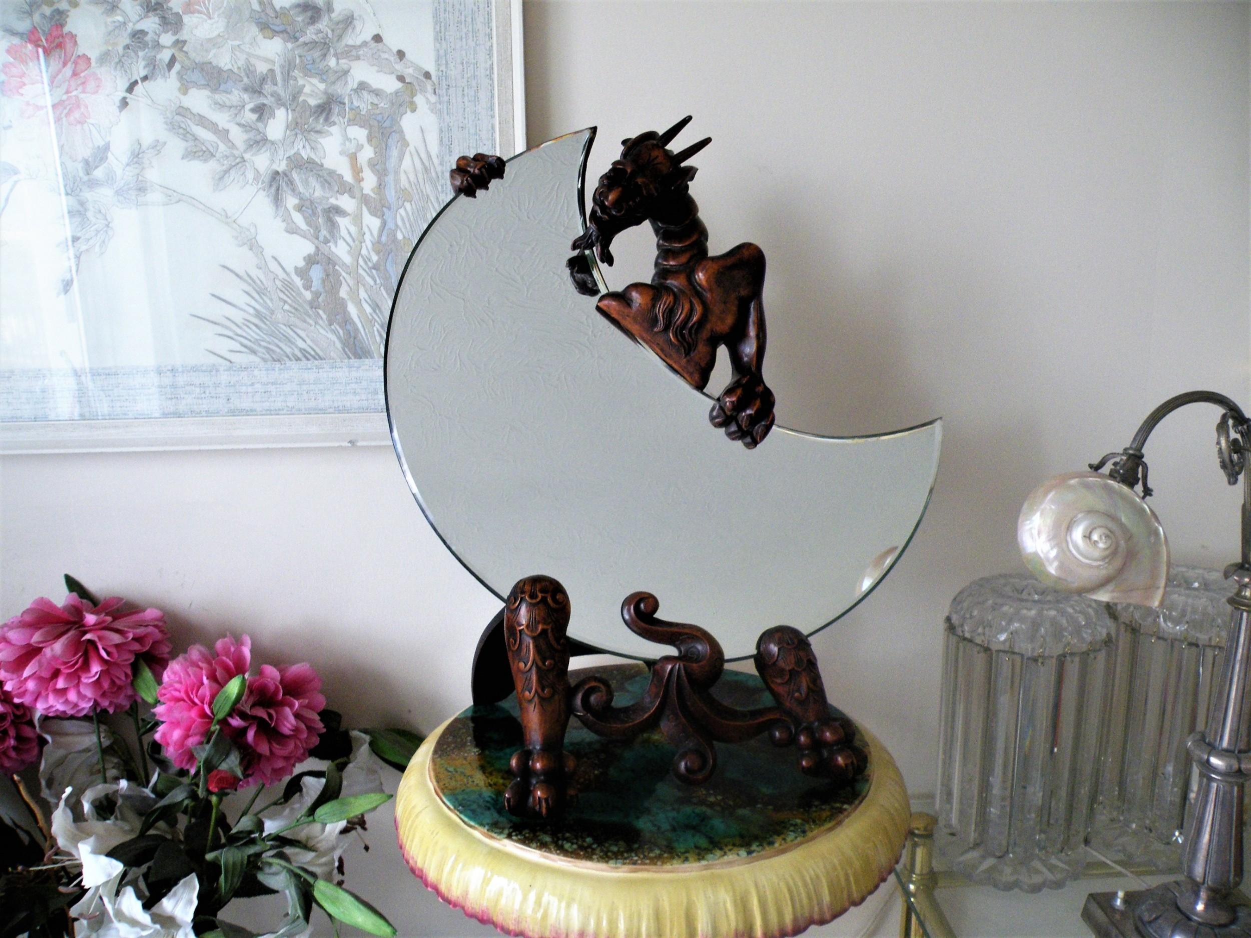 a large highly decorative 19th century chinese dragon easel mirror