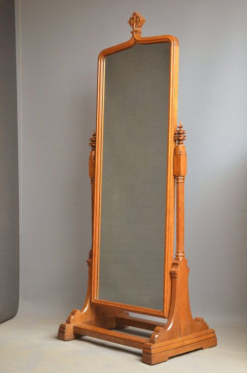 Unusual Victorian Oak Cheval Mirror 260862