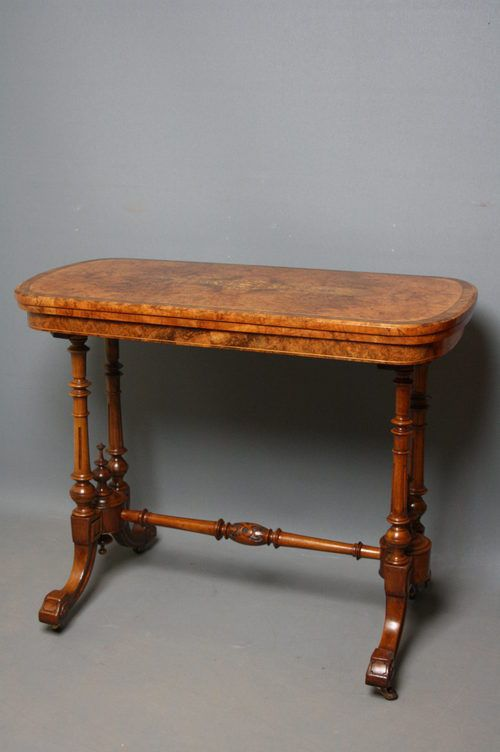 victorian card table in burr walnut