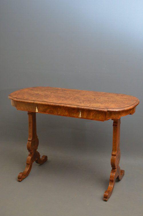 victorian side table in burr walnut