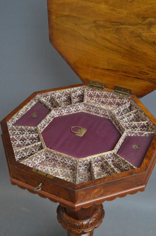 victorian trumpet work table in walnut trumpet table