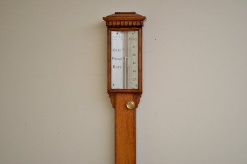 19c oak cased stick barometer