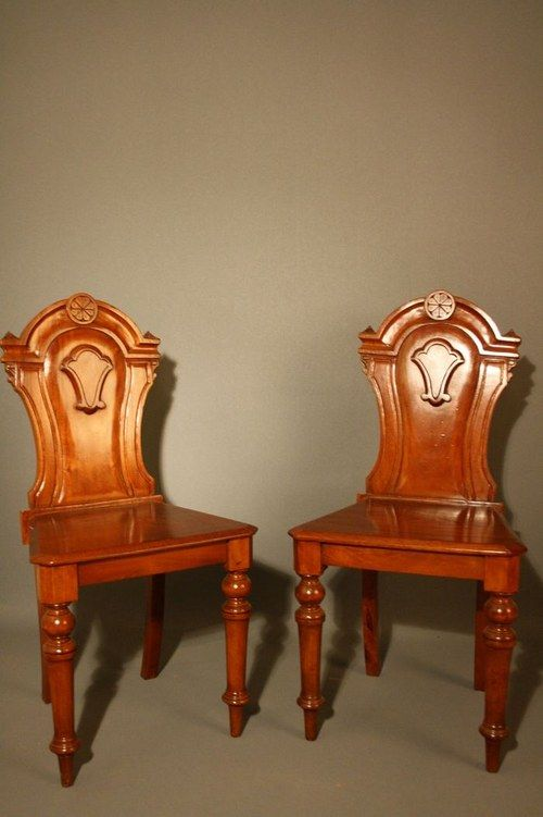 victorian pair of mahogany hall chairs