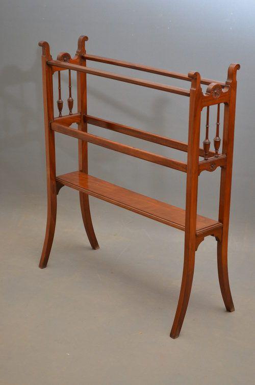 late victorian walnut towel rail