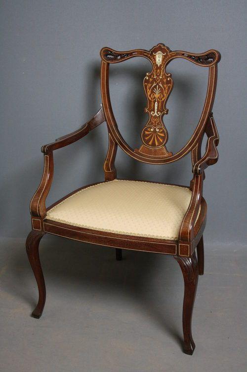 edwardian mahogany carver chair armchair