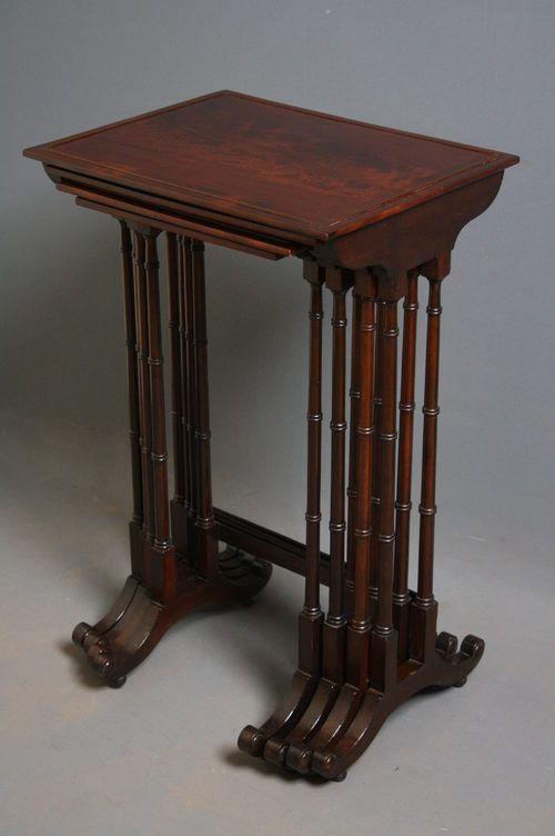 edwardian nest of 4 tables in mahogany