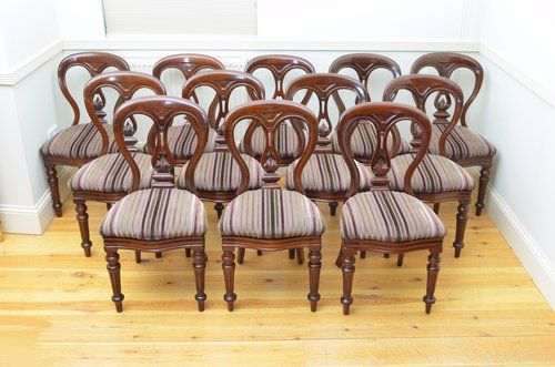 quality set of 12 victorian mahogany dining chairs