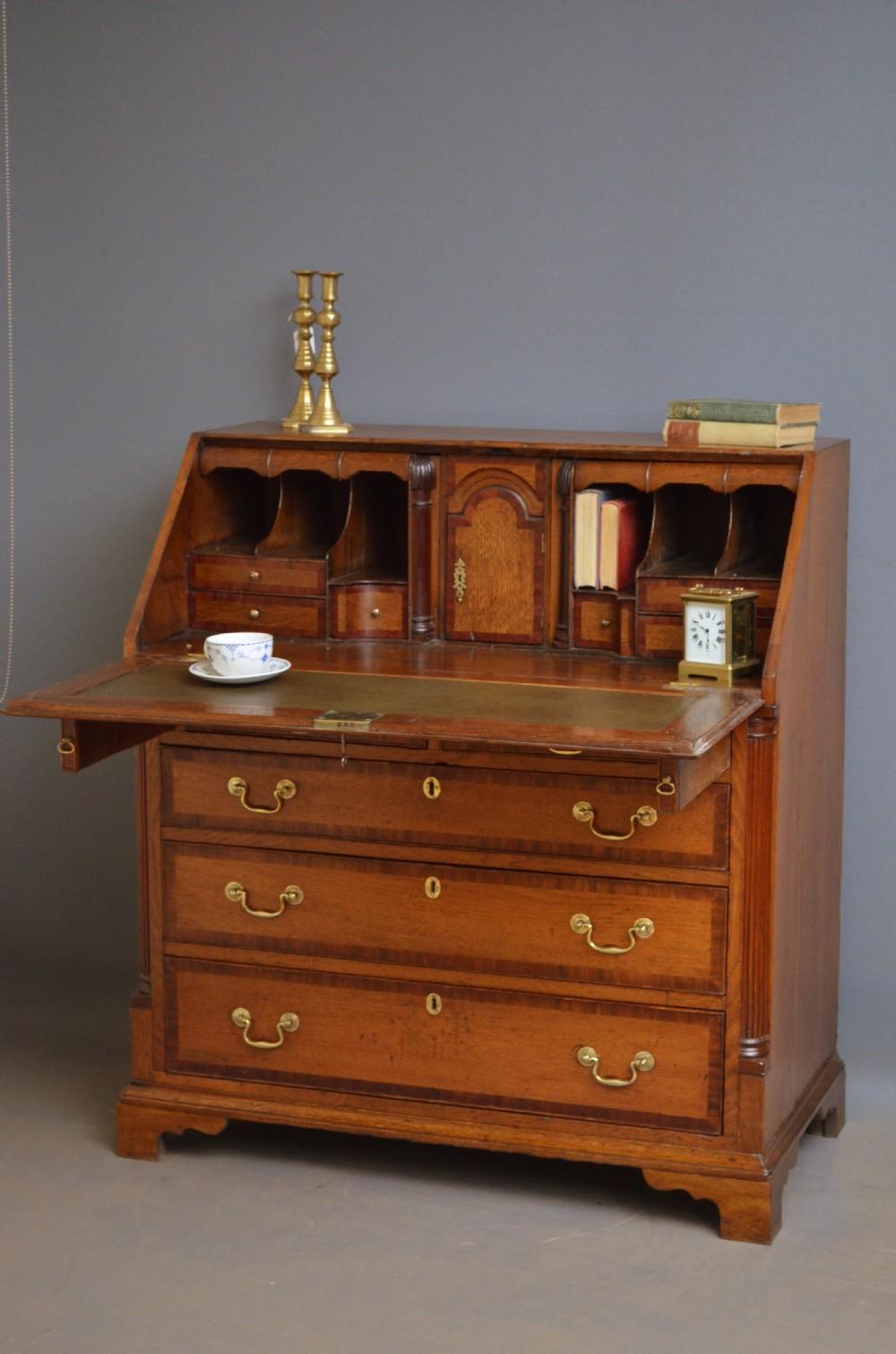 fine georgian oak bureau antique writing desk 373703. Black Bedroom Furniture Sets. Home Design Ideas