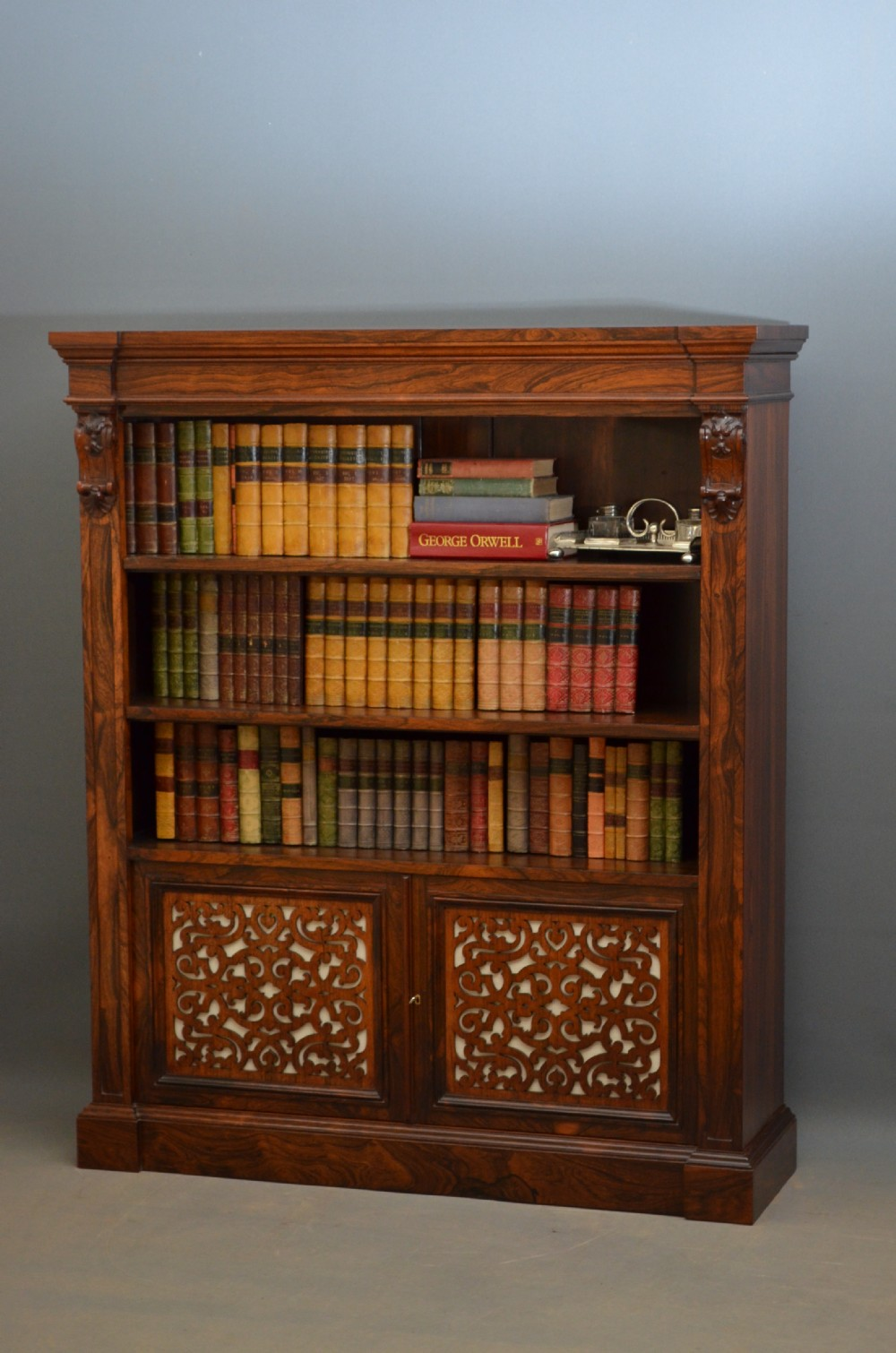 an exceptional william iv early victorian open bookcase