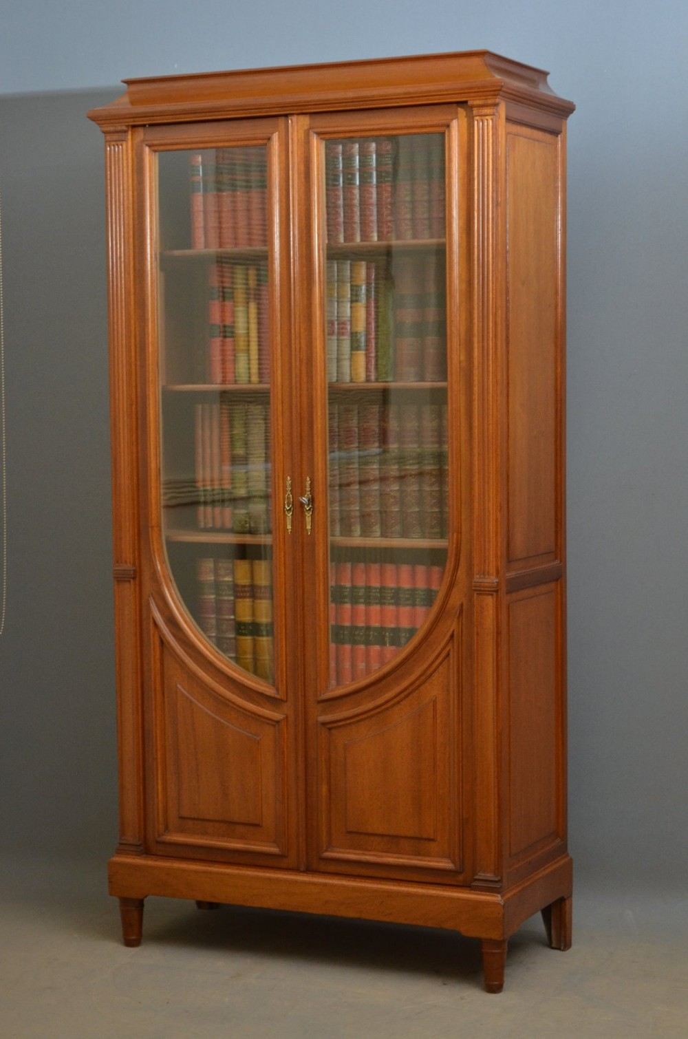 French Art Nouveau Walnut Bookcase Display Cabinet