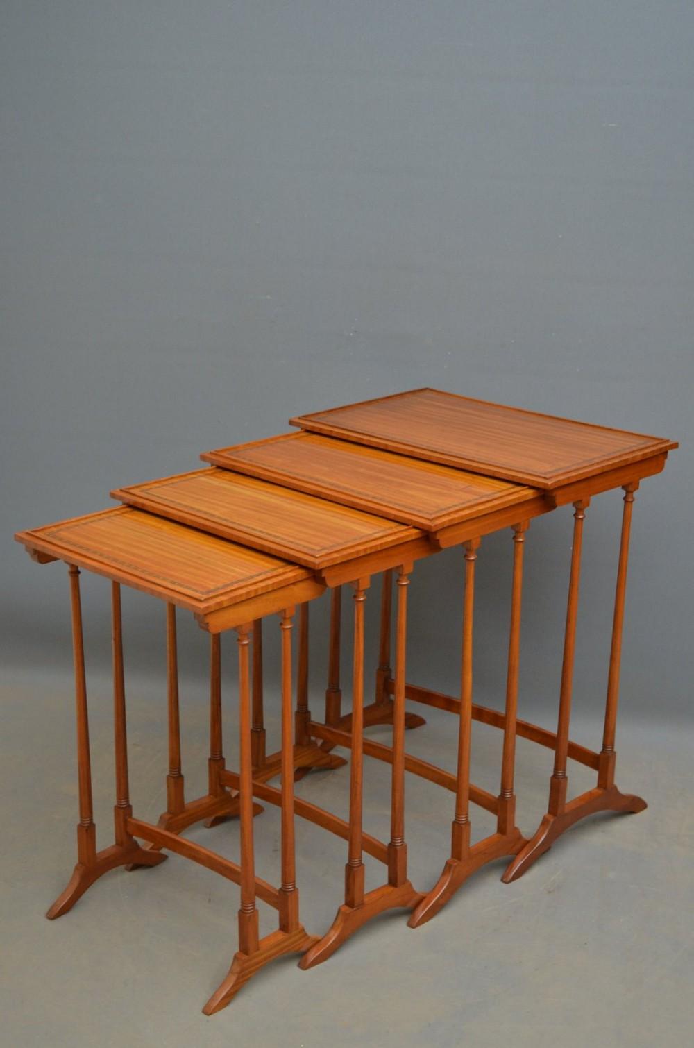 edwardian satinwood quartetto nest of tables
