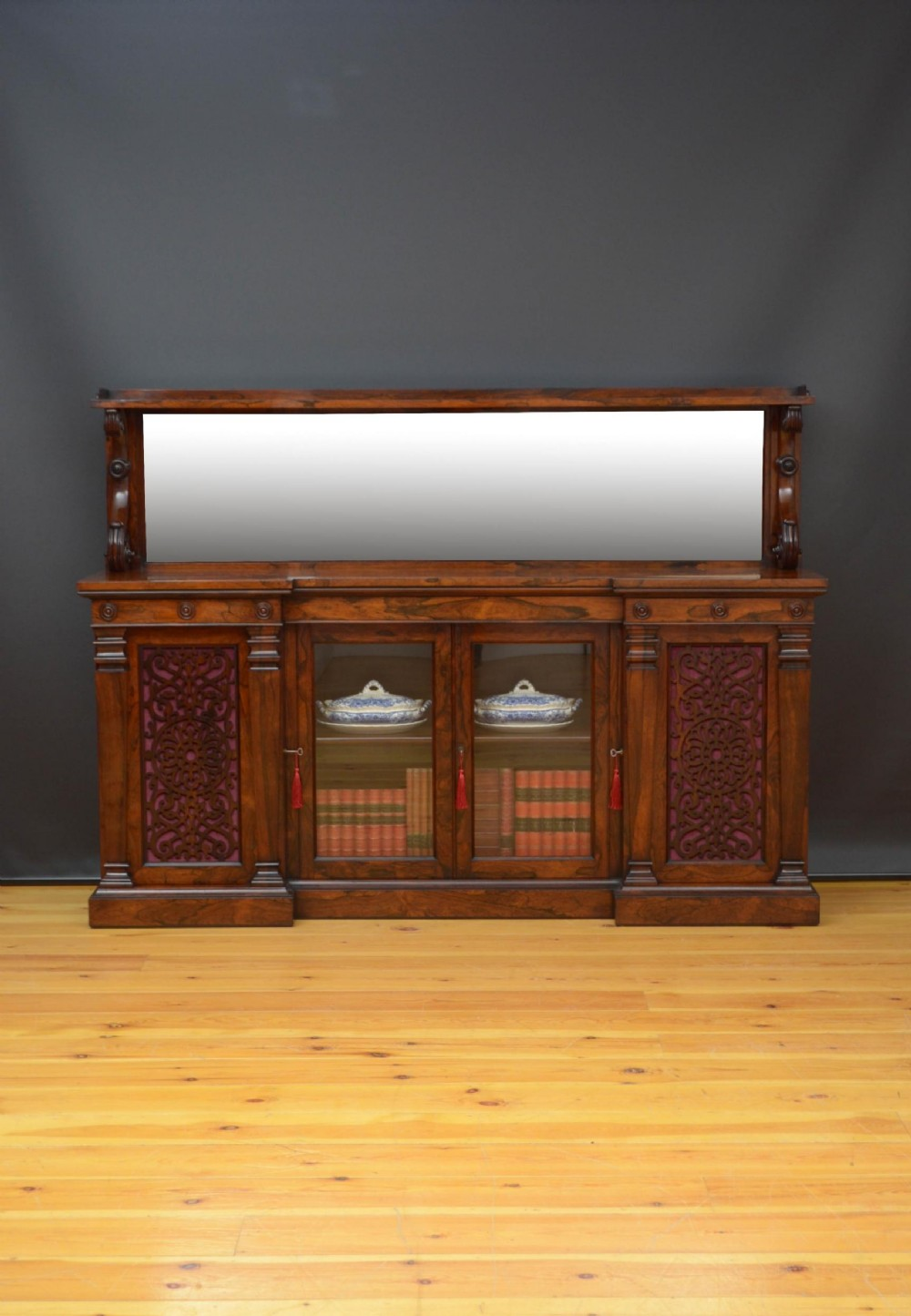 large victorian rosewood sideboard bookcase
