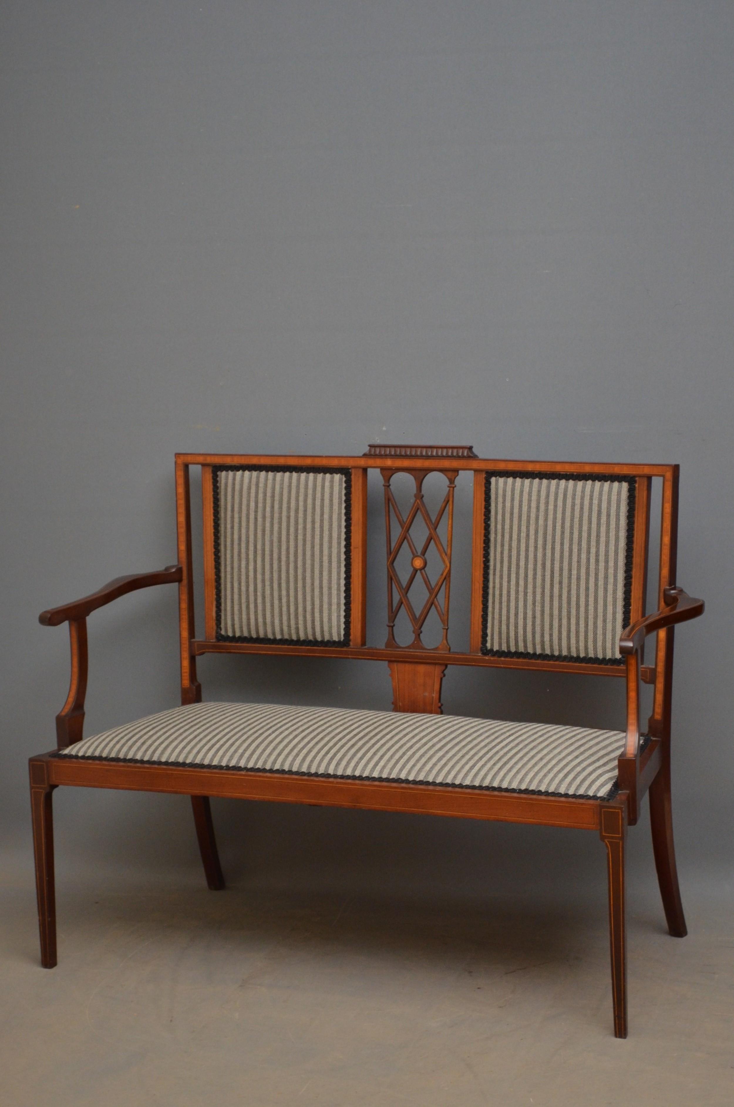 edwardian mahogany and inlaid settee