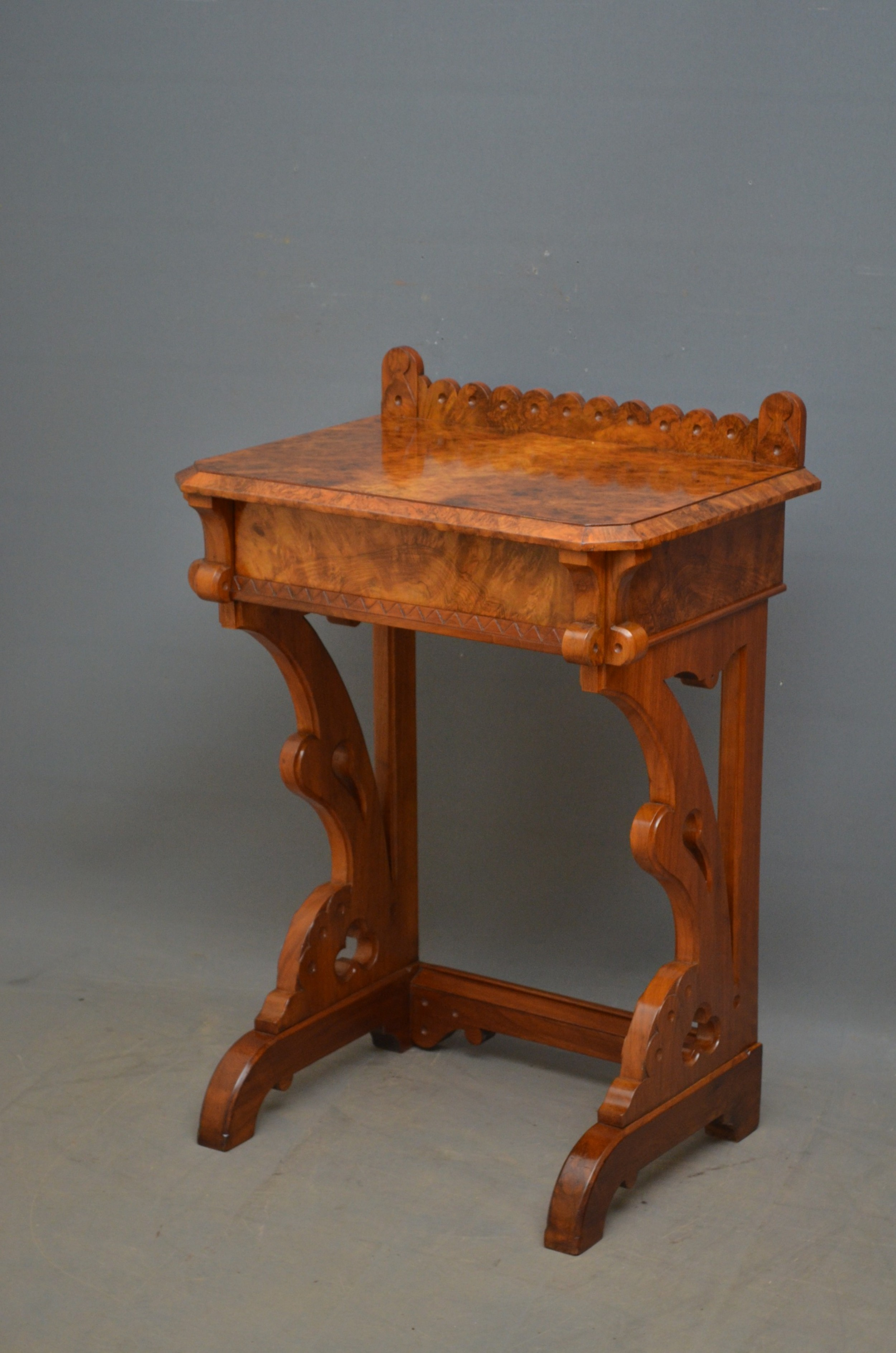 stylish gothic revival burr walnut console table