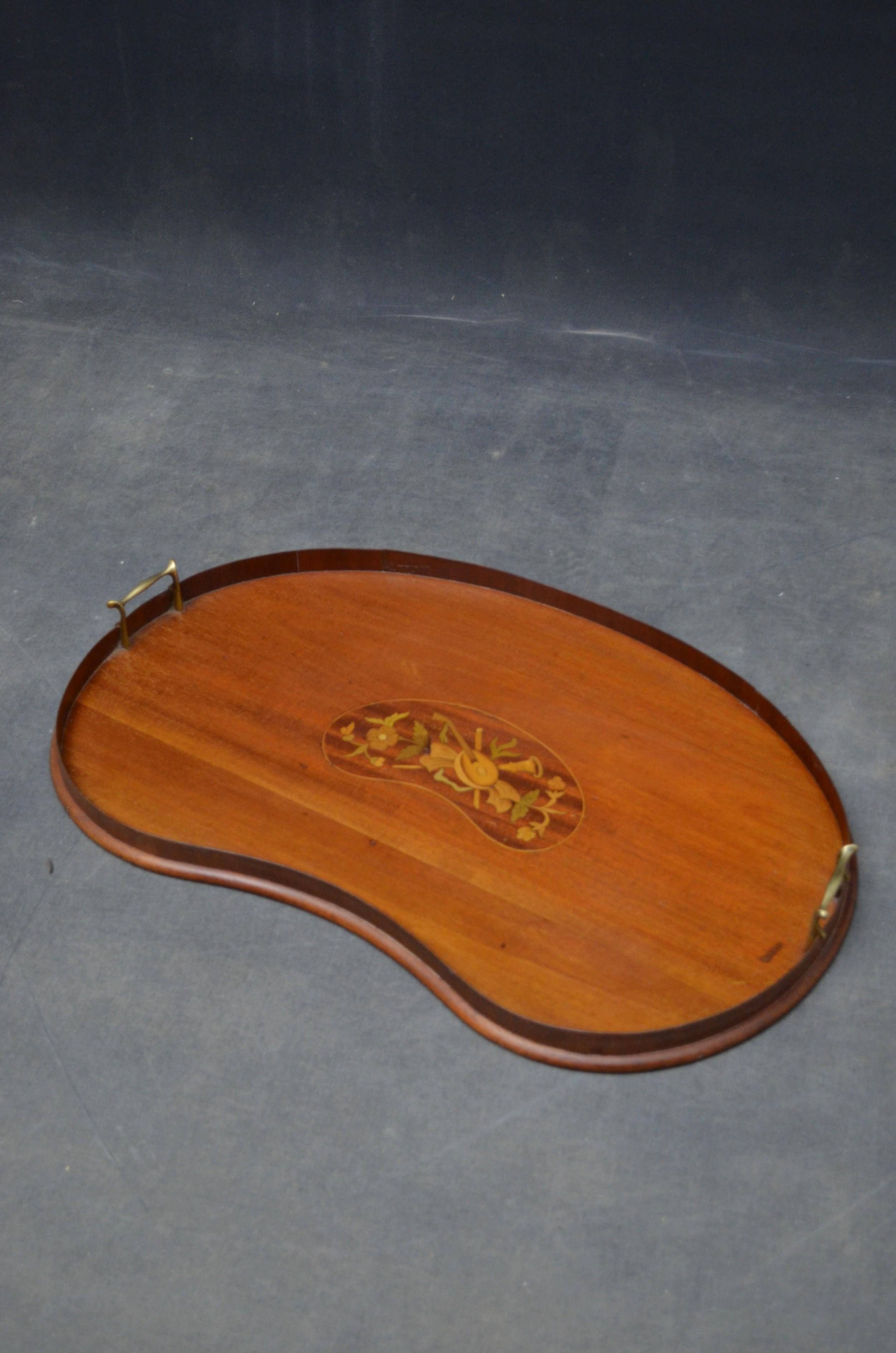 edwardian mahogany and inlaid tray