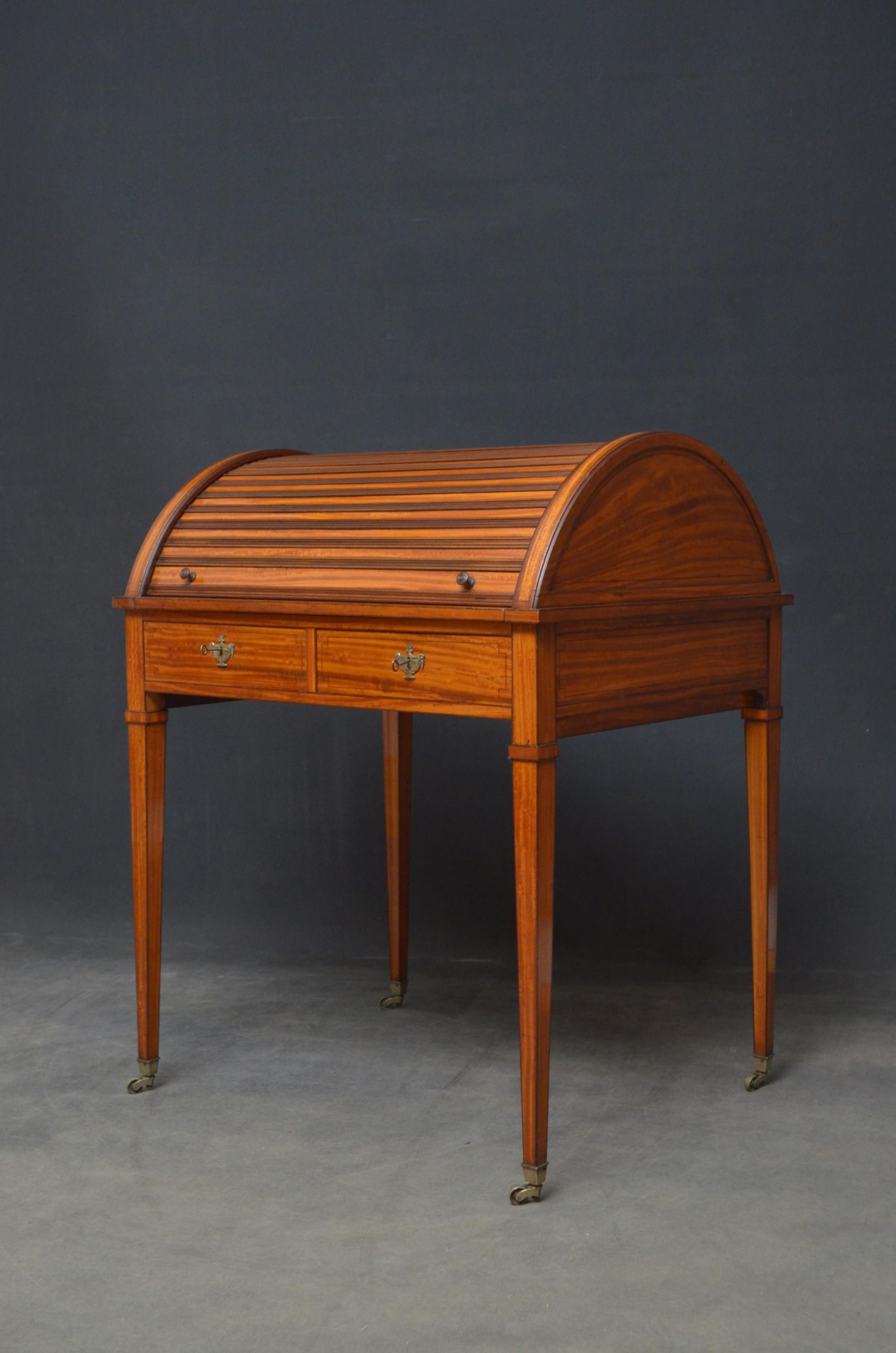 superb sheraton revival satinwood desk
