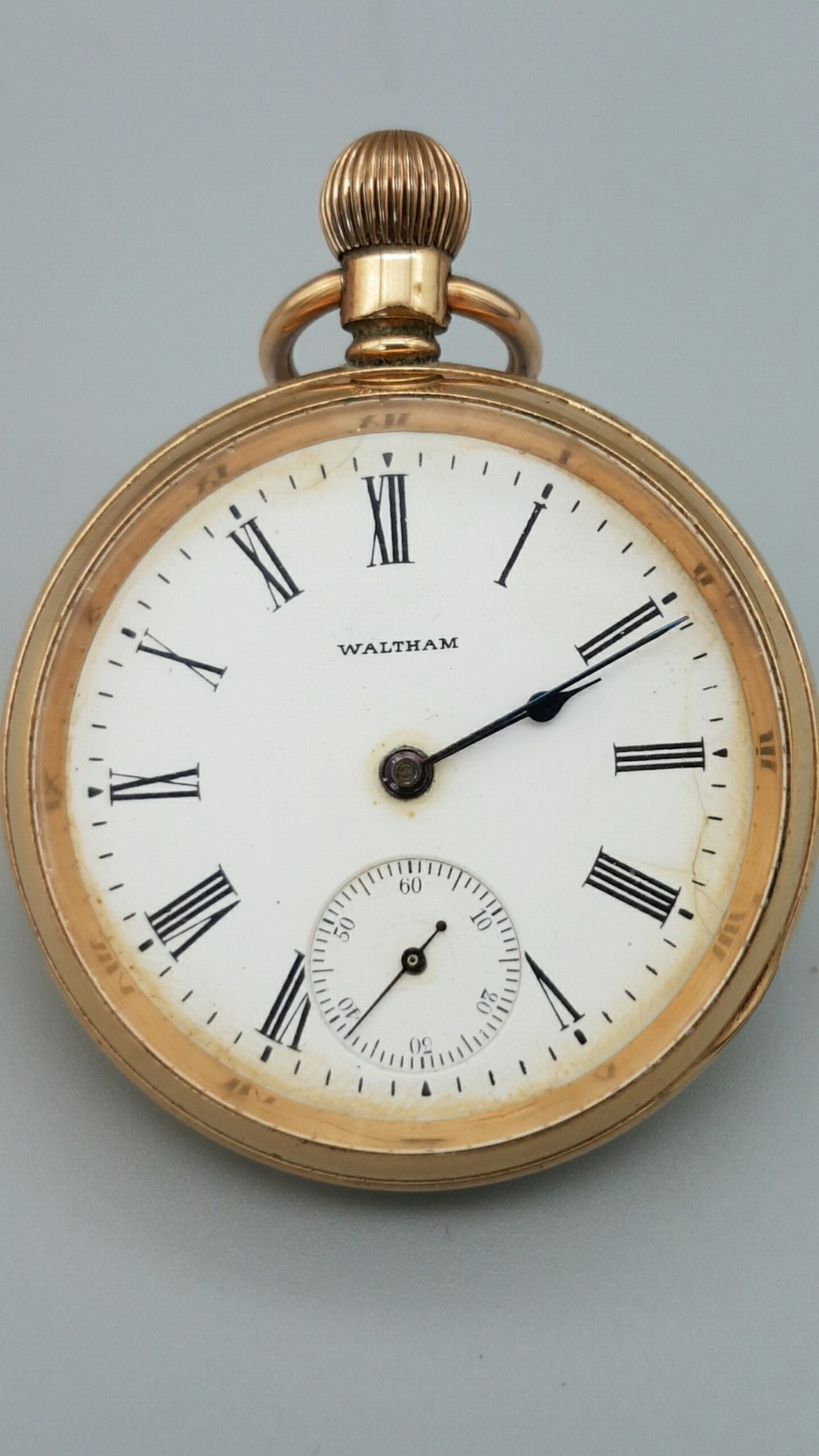 antique open faced waltham traveler open face pocket watch 14k goldplated case