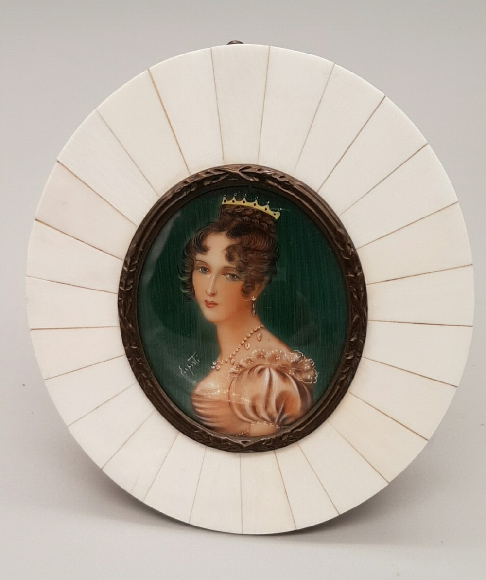 superb 18th19thc italian miniature portrait of a lady ivory frame signed