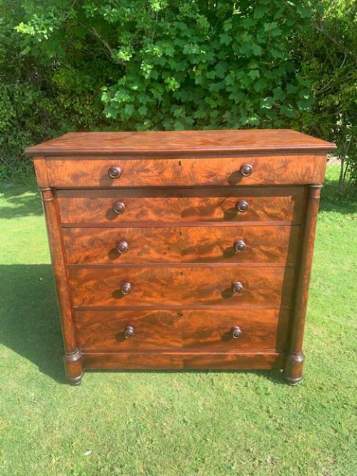 victorian mahogany chest with columns