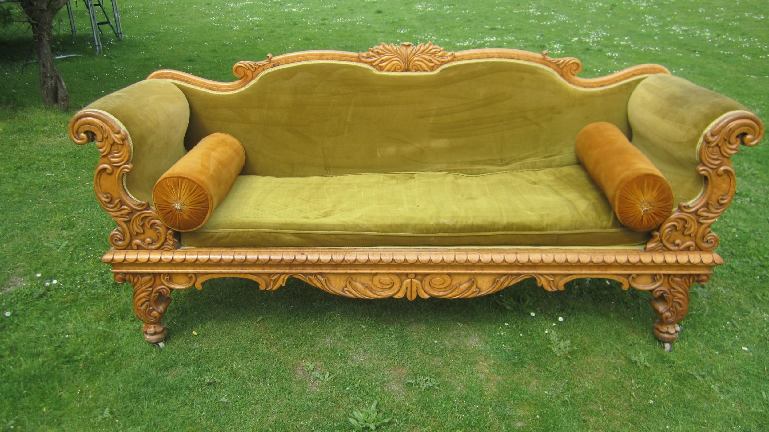 victorian bird's eye maple sofa