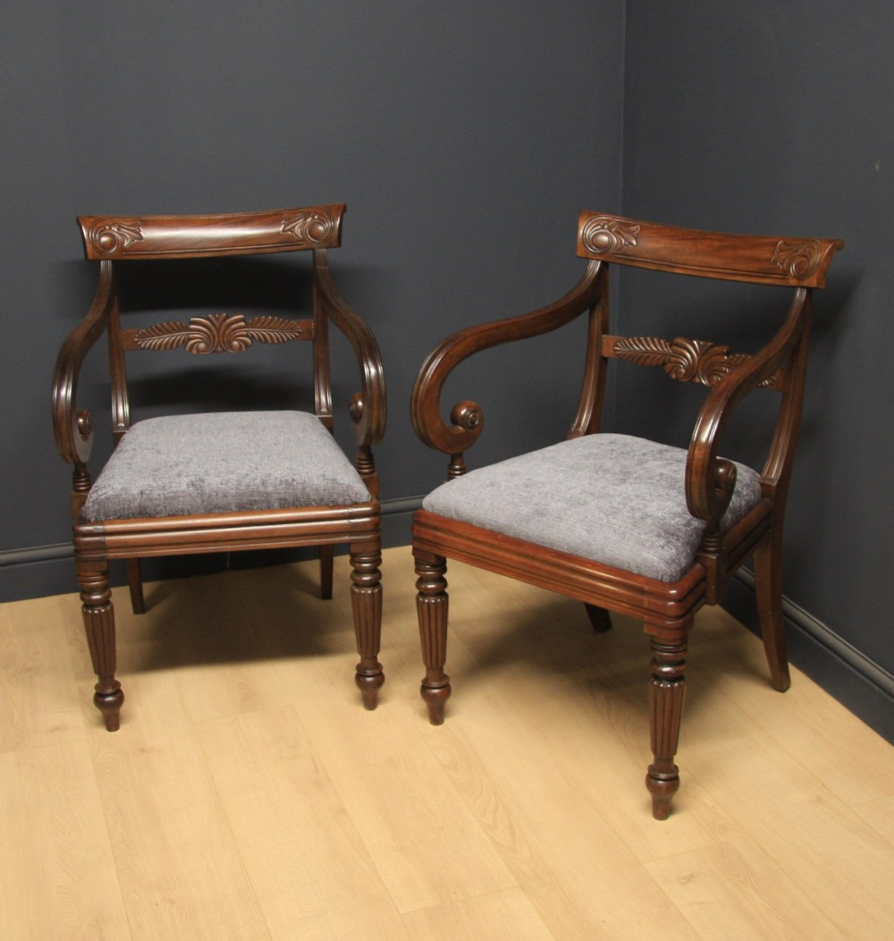 pair of william iv mahogany carver chairs