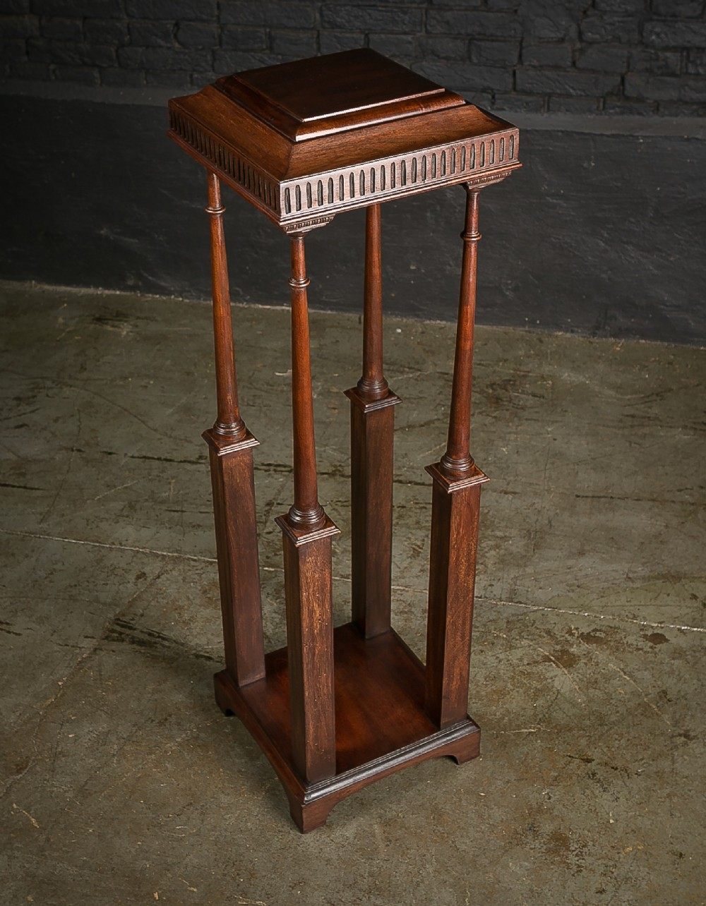19th c mahogany jardiniere stand with turned detail