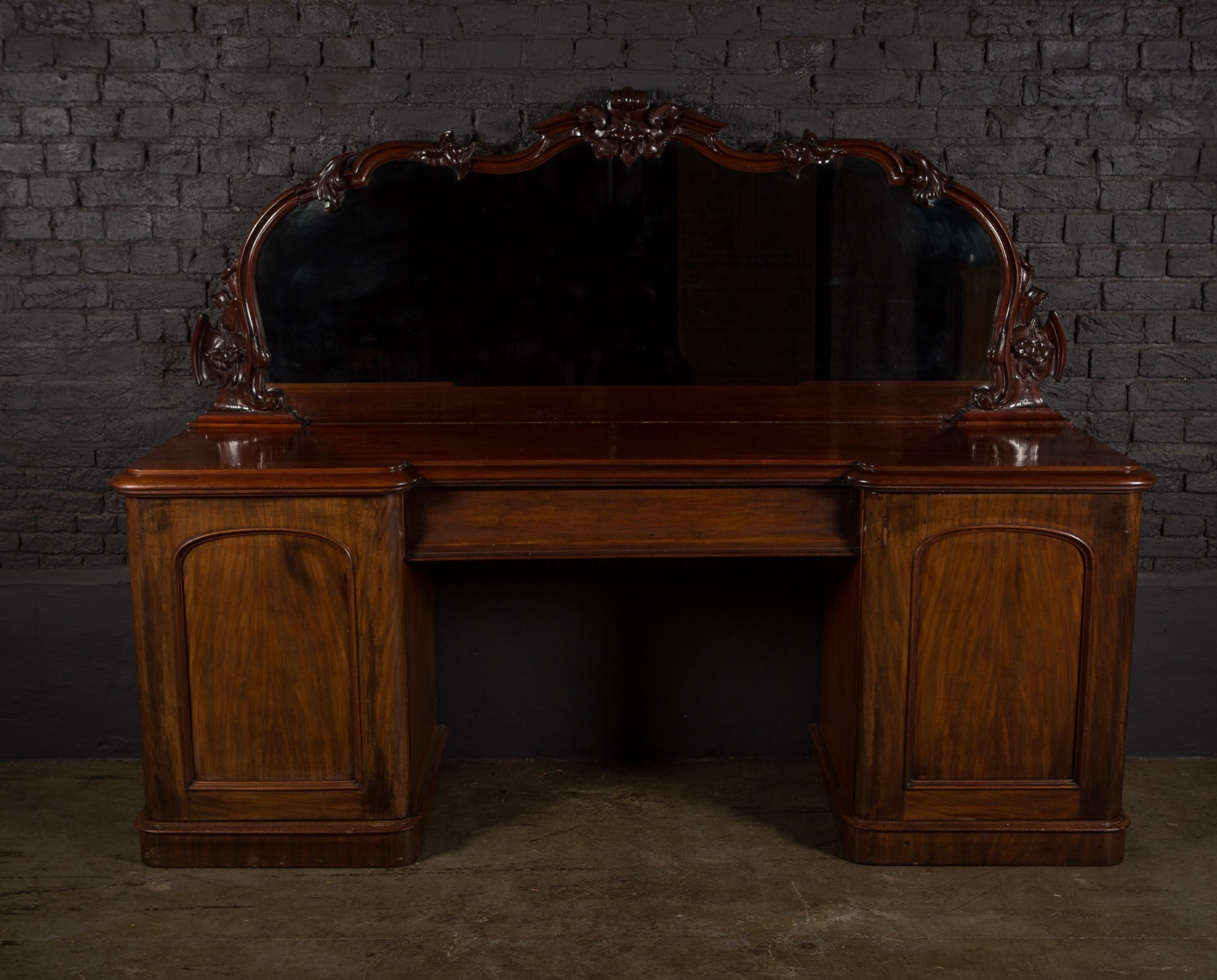 19th c rich mahogany breakfront sideboard with raised gallery mirror